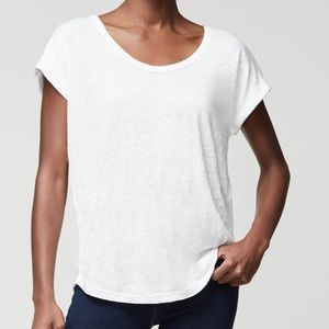 Frame Slouchy 100% Linen U T-Shirt Cuff Sleeve L